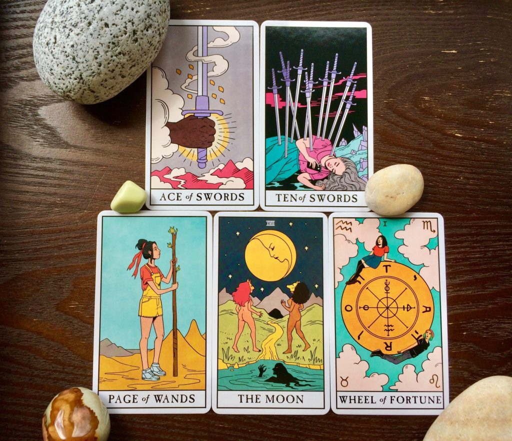 Tarot Touchstone spread for May 2021 from Modern Witch Tarot