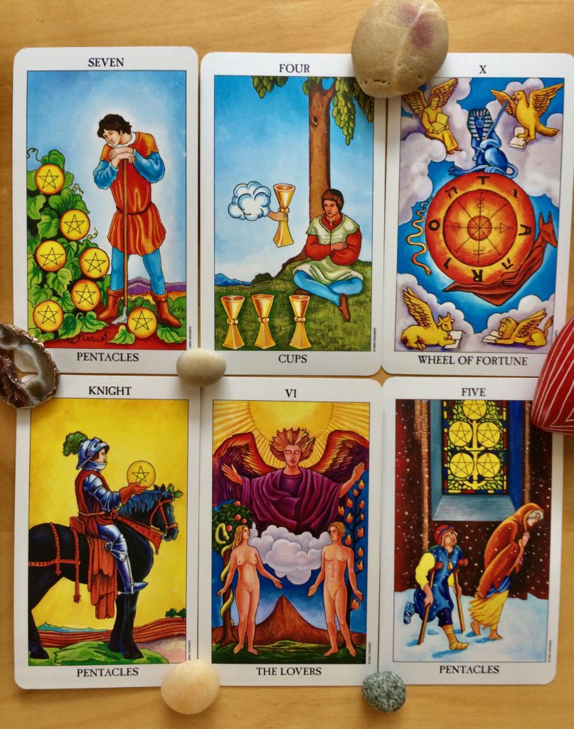 Tarot touchstone for August 2021 includes 7 of Pentacles, 4 of Cups, Wheel of Fortune, Knight of Pentacles, The Lovers, and 5 of Pentacles