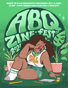Albuquerque Zine Fest 2021 logo represented by a beautiful full-figured woman sitting between two plants and getting ready to write and read zines