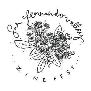 San Fernando Valley Zine Fest logo represented by the San Fernando Valley Spineflowers, a flower considered extinct from 1929 to 1999 and are currently on the endangered species list